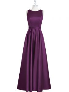 Sleeveless Elastic Woven Satin Floor Length Backless Graduation Dresses in Eggplant Purple with Ruching and Pleated