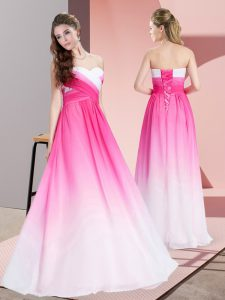 Dramatic Sleeveless Chiffon Floor Length Lace Up Graduation Dresses in Pink And White with Ruching