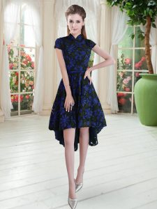 Super Blue And Black Zipper High-neck Appliques Graduation Dresses Lace Short Sleeves