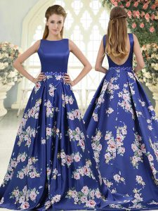Cute Royal Blue Graduation Dresses Scoop Sleeveless Brush Train Backless