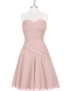 Beautiful Pink Sweetheart Neckline Ruching and Pleated Graduation Dresses Sleeveless Zipper