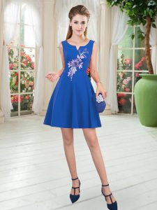 Blue Graduation Dresses Prom and Party with Appliques Scoop Sleeveless Zipper