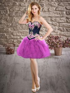 Sweetheart Sleeveless Lace Up Graduation Dresses Purple Organza