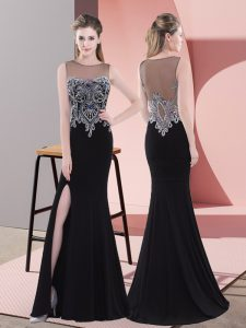 Sophisticated Black Graduation Dresses Prom and Party and Military Ball with Beading Scoop Sleeveless Side Zipper