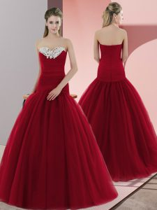 Tulle Sweetheart Sleeveless Zipper Beading Graduation Dresses in Red