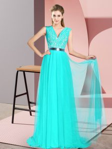 Modest Turquoise Empire Tulle V-neck Sleeveless Beading and Lace Zipper Party Dress for Toddlers Sweep Train