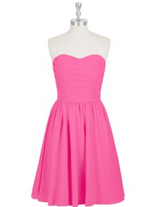 Hot Pink Sleeveless Chiffon Zipper Graduation Dresses for Prom and Party