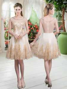 Champagne Sleeveless Beading and Appliques Knee Length Graduation Dresses