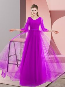 Inexpensive Floor Length A-line Long Sleeves Purple Graduation Dresses Lace Up
