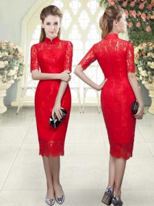 Tea Length Zipper Graduation Dresses Red for Prom and Party with Beading and Lace