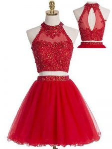 Mini Length Red Graduation Dresses Halter Top Sleeveless Zipper