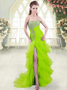 Graduation Dresses Prom and Party with Beading and Ruffled Layers Sweetheart Sleeveless Brush Train Lace Up