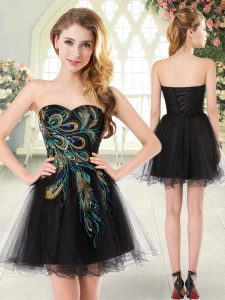 Mini Length A-line Sleeveless Black Graduation Dresses Lace Up