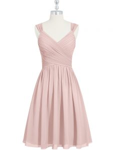 Colorful Pink Lace Up Graduation Dresses Ruching Sleeveless Mini Length