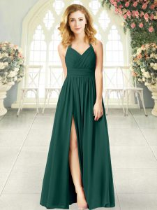 Modern Chiffon Halter Top Sleeveless Zipper Ruching Graduation Dresses in Peacock Green