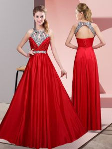 Excellent Floor Length Empire Sleeveless Red Graduation Dresses Lace Up
