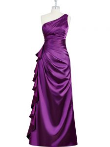 Graceful Sleeveless Elastic Woven Satin Floor Length Side Zipper Teens Party Dress in Purple with Beading and Ruching and Pleated
