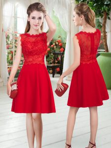 Perfect Scalloped Sleeveless Graduation Dresses Knee Length Lace Red Satin