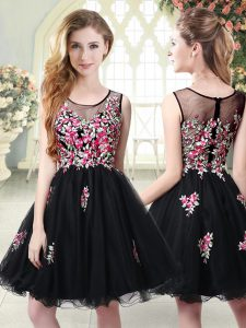 A-line Graduation Dresses Black Scoop Tulle Sleeveless Mini Length Zipper