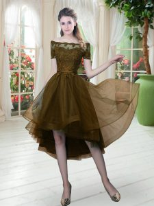 Customized Brown Graduation Dresses Prom and Party with Lace Off The Shoulder Short Sleeves Lace Up