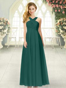 Peacock Green Straps Zipper Ruching Graduation Dresses Sleeveless