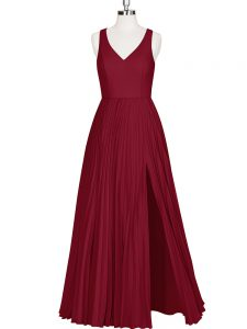 Gorgeous Wine Red Sleeveless Pleated Floor Length Graduation Dresses