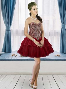 Sweetheart Sleeveless Graduation Dresses Mini Length Beading and Ruffled Layers Burgundy