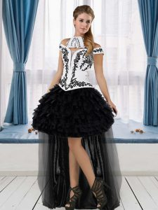 Enchanting High Low Lace Up Graduation Dresses White And Black for Prom and Party with Embroidery and Ruffled Layers