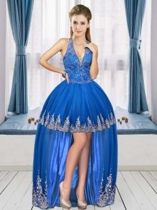 Royal Blue Graduation Dresses Prom and Party with Beading and Appliques V-neck Sleeveless Lace Up