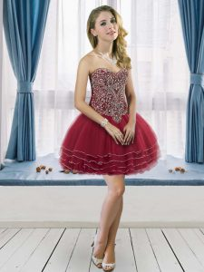 Stunning Wine Red Sweetheart Lace Up Beading Graduation Dresses Sleeveless