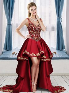 V-neck Sleeveless Lace Up Graduation Dresses Wine Red Satin Beading and Embroidery