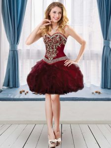High Class Tulle Sweetheart Sleeveless Lace Up Beading and Ruffles Graduation Dresses in Burgundy