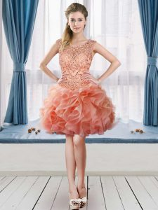 Vintage Tulle Sleeveless Mini Length Graduation Dresses and Beading and Ruffles