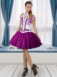 Perfect High Low Purple Graduation Dresses Off The Shoulder Sleeveless Lace Up