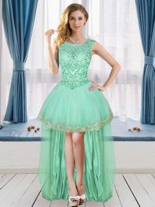 Suitable Apple Green Sleeveless High Low Beading and Appliques Lace Up Casual Dresses Scoop
