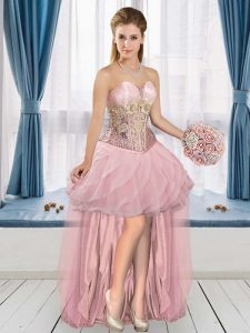 Fancy Pink Sleeveless Appliques High Low Juniors Party Dress