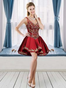 Eye-catching Wine Red A-line V-neck Sleeveless Satin Mini Length Lace Up Beading and Embroidery Graduation Dresses