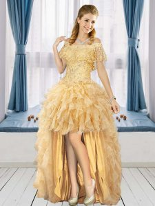 Pretty Organza Short Sleeves High Low Graduation Dresses and Beading and Ruffles