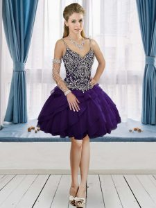 Simple Straps Sleeveless Graduation Dresses Mini Length Beading Purple
