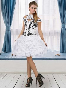 Designer Mini Length White Graduation Dresses Tulle Sleeveless Embroidery and Ruffles