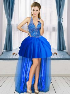 Chic Royal Blue Sleeveless High Low Beading Lace Up Graduation Dresses V-neck