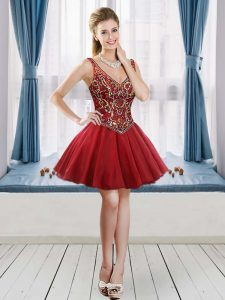 Wine Red V-neck Neckline Beading Graduation Dresses Sleeveless Lace Up
