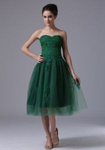 Hunter Green Strapless Beaded Tea-Length Graduation Dress with Appliques in Alva