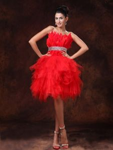 Red Mini-Length Layered Graduation Dress with Appliques and Lace-up Back