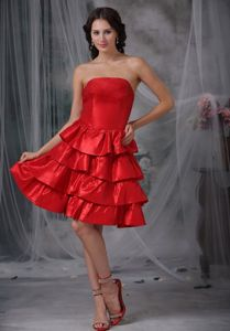 Red Strapless Short-Length Graduation Dress Of Grade Eight with Layers and Ruffles