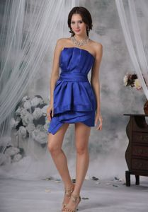 Strapless Mini-Length Royal Blue Ruched Graduation Dress with Lace-up Back
