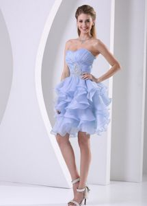 Lilac Sweetheart Short-Length Ruched Graduation Dress with Appliques and Ruffles