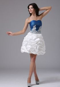 Mini-Length Ruched Graduation Dress in Blue and White with Appliques and Pick-ups