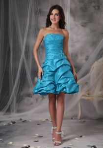 Strapless Aqua Blue Short-Length Beaded Graduation Dress with Pick-ups