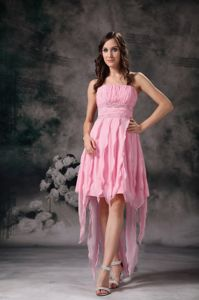 Watermelon Strapless Asymmetrical Beaded Ruched Graduation Dress with Pleats